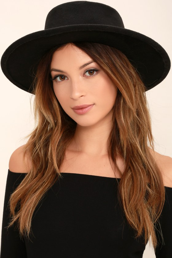 f369d8fa05 Chic Black Hat - Felted Hat - Flat Top Hat - $20.00