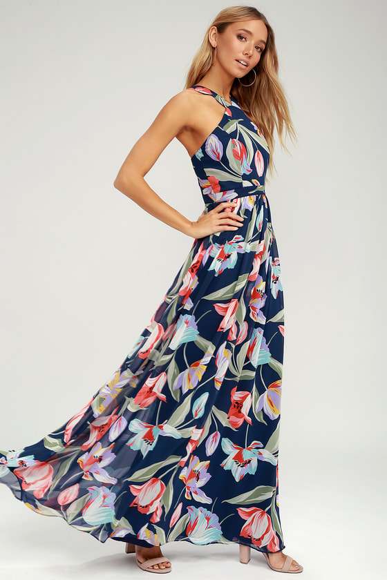e7304ea0432 Lovely Navy Dress - Floral Multi Print Dress - Maxi Dress