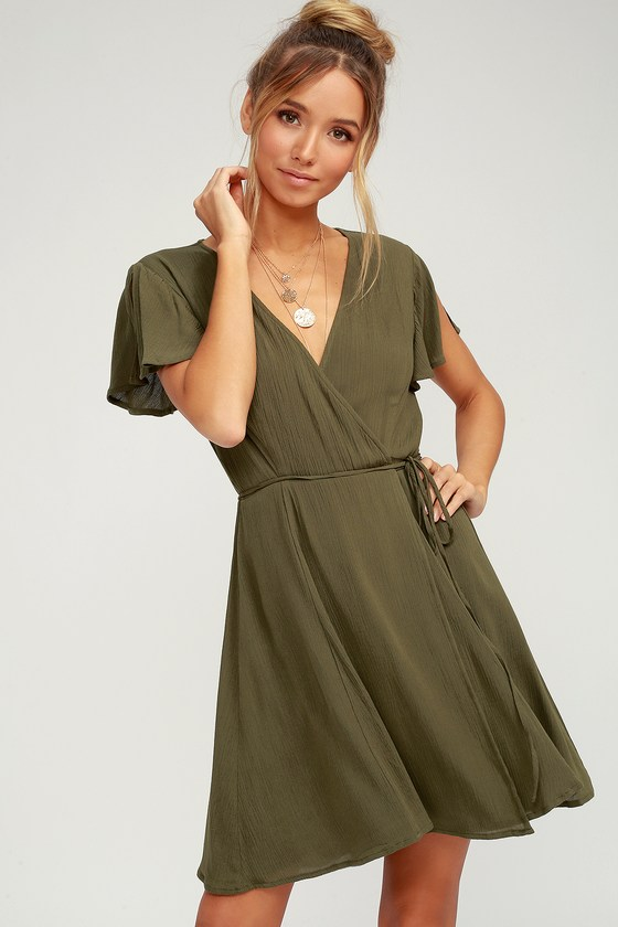 11e7c83af97f Cute Olive Green Dress - Wrap Dress - Short Sleeve Dress