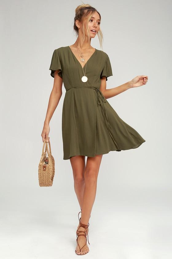 cdd26e4bee1 Cute Olive Green Dress - Wrap Dress - Short Sleeve Dress