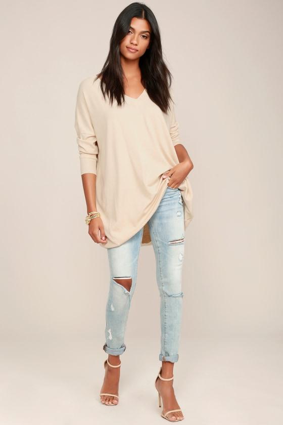 Beige Sweater - V-Neck Sweater - Oversized Sweater -  42.00 74565b2ac