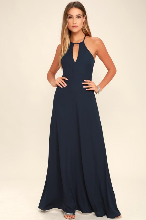 77a867411da0 Lovely Navy Blue Dress - Maxi Dress - Gown - Formal Dress