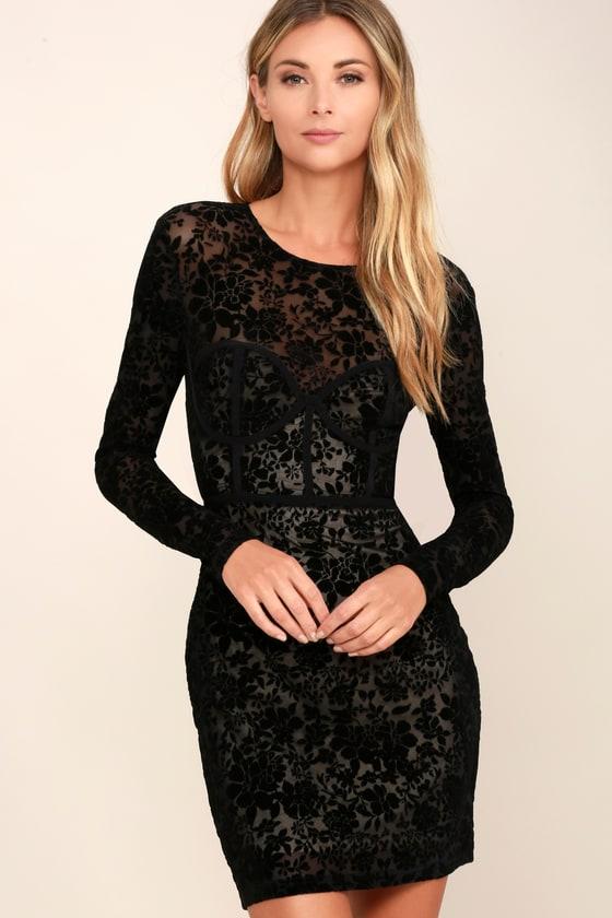 9d4f1d6a8 Black Long Sleeve Dress - Bodycon Dress - Burnout Dress - Velvet Dress -  $54.00