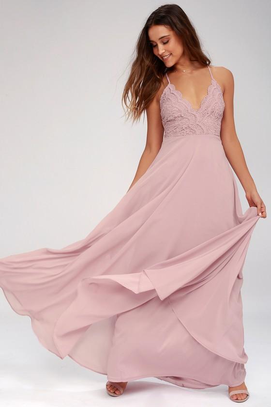 bbd1c17b9bc Pretty Maxi Dress - Lace Maxi Dress - Dusty Lavender Dress
