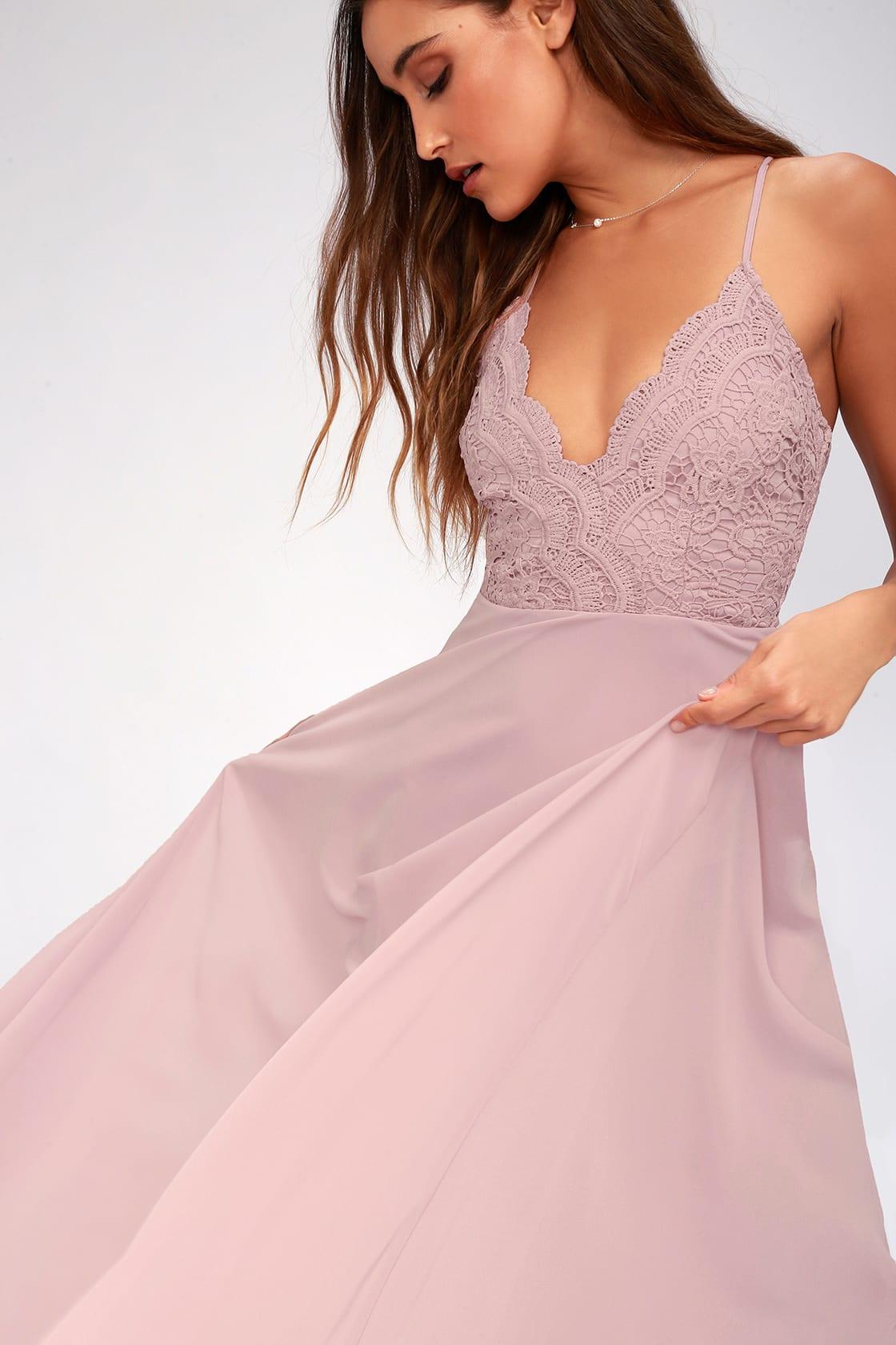 Madalyn Dusty Lavender Lace Maxi Dress