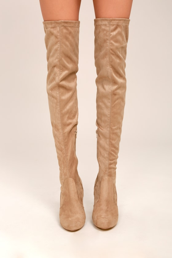 78e4aecf7b0 Chic Taupe Suede Boots - Taupe Over the Knee Boots - OTK Boots -  46.00