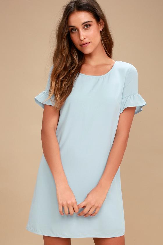 e0ba49328ab Cute Blue Shift Dress - Ruffle Shift Dress - Short Dress