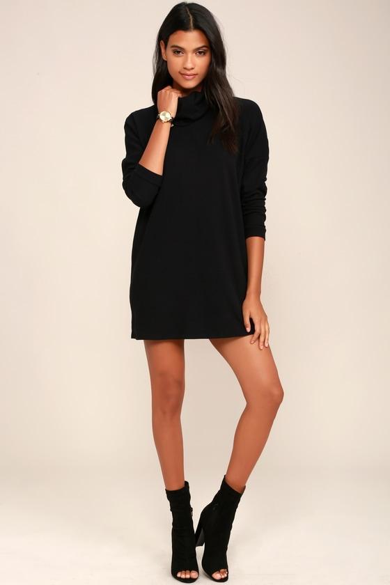 Black Dress Turtleneck Dress Long Sleeve Dress Knit Dress 5200