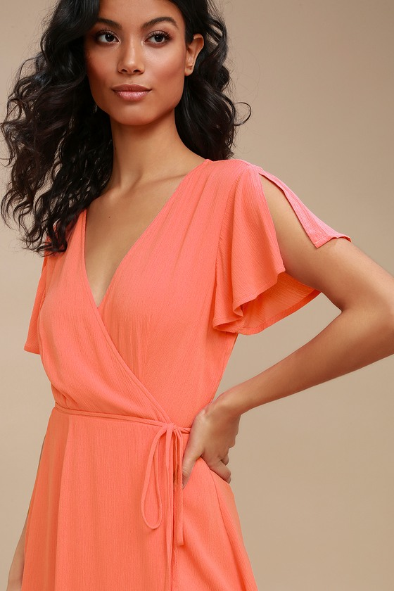 a4a39aa5b293 Cute Coral Pink Dress - Wrap Dress - Short Sleeve Dress