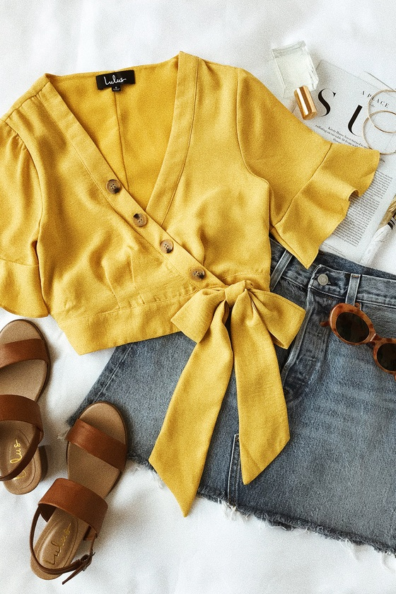 Envie Mustard Yellow Wrap Crop Top 5