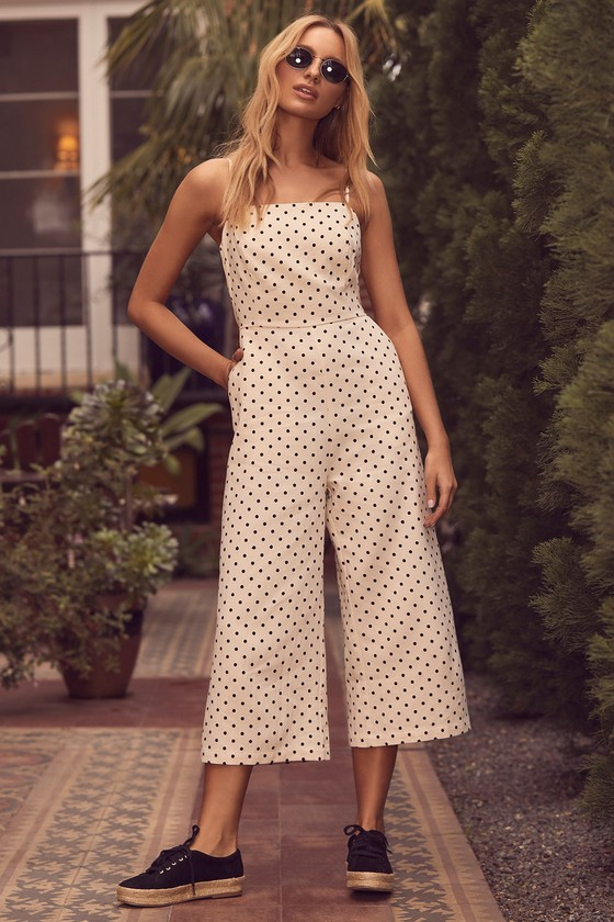 ab69196c2175 Chic Cream Polka Dot Jumpsuit - Culotte Jumpsuit