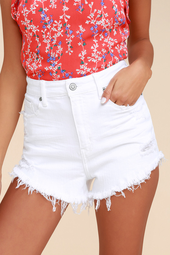b9792ce32 White Shorts - High-Waisted Shorts - Pink Cutoff Shorts