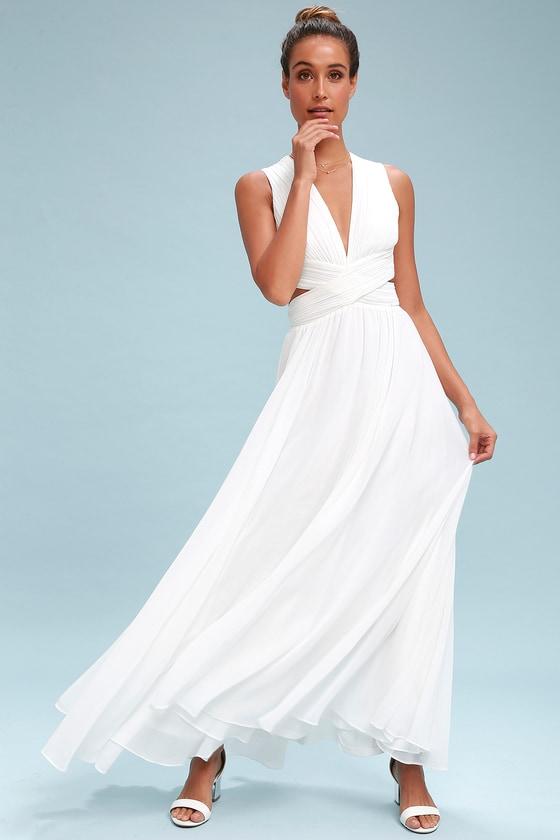 70s Dresses – Disco Dresses, Hippie Dresses, Wrap Dresses Vivid Imagination White Cutout Maxi Dress - Lulus $60.00 AT vintagedancer.com