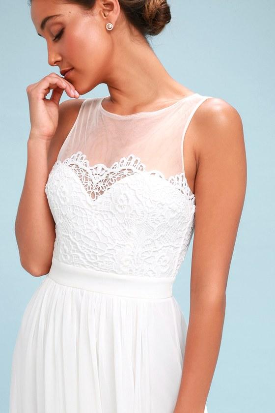 Adette White Lace Maxi Dress