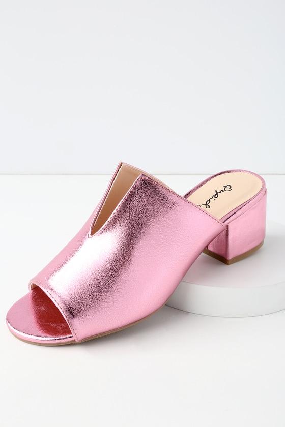 Logan Pink Metallic Mules by Lulu's