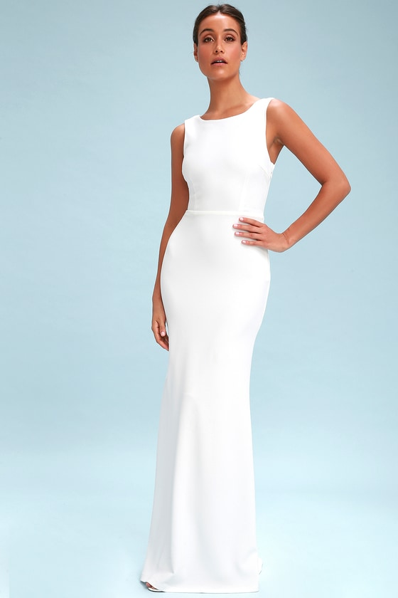 89277179d4ca Stunning White Maxi - Backless Maxi Dress - Drape Back Maxi