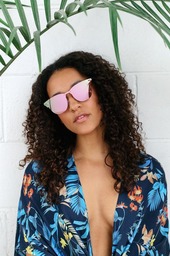 Clarkson Gold and Pink Mirrored Wayfarer Sunglasses