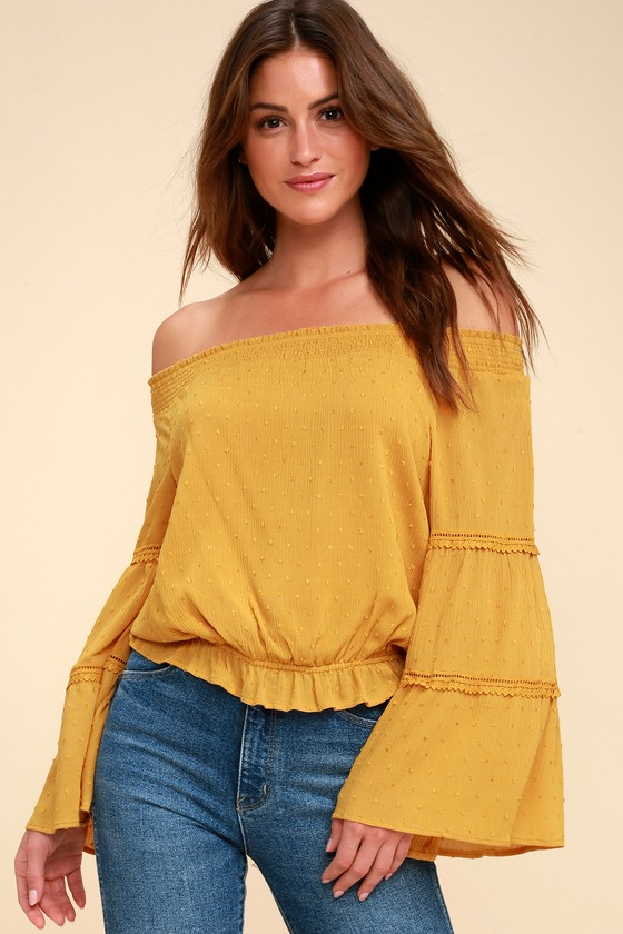 01acc6eb960 Sunny Story Mustard Yellow Lace Bell Sleeve Off-the-Shoulder Top