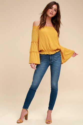 877aa7be64a Sunny Story Mustard Yellow Lace Bell Sleeve Off-the-Shoulder Top