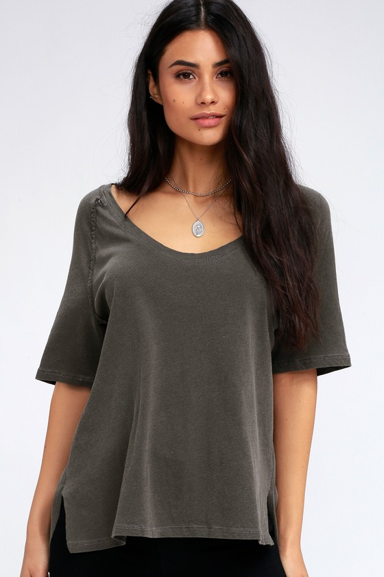 Magee Charcoal Grey High Low Tee by Project Social T