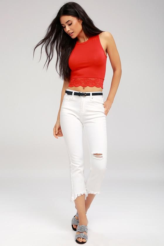 e7019821421df Cute Red Crop Top - Lace Crop Top - Red Tank Top