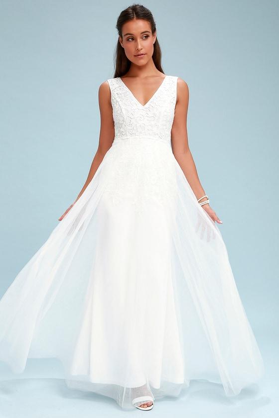 ee7c64e754c Stunning White Dress - Lace Maxi Dress - Tulle Bridal Dress