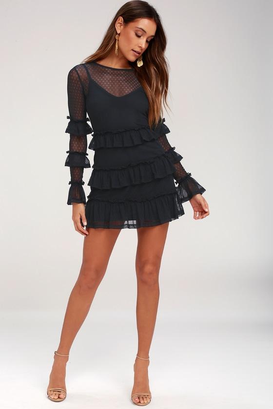 Faithfull The Brand National Navy Dress Ruffle Dress