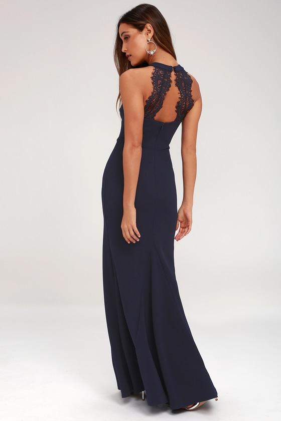 7f1e5040dcfd1 Lovely Navy Blue Dress - Lace Maxi Dress - Halter Dress