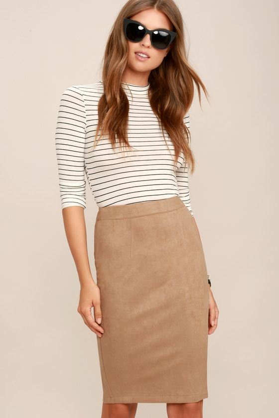 287df5055 Tan Skirt - Pencil Skirt - Midi Skirt - Vegan Suede Skirt