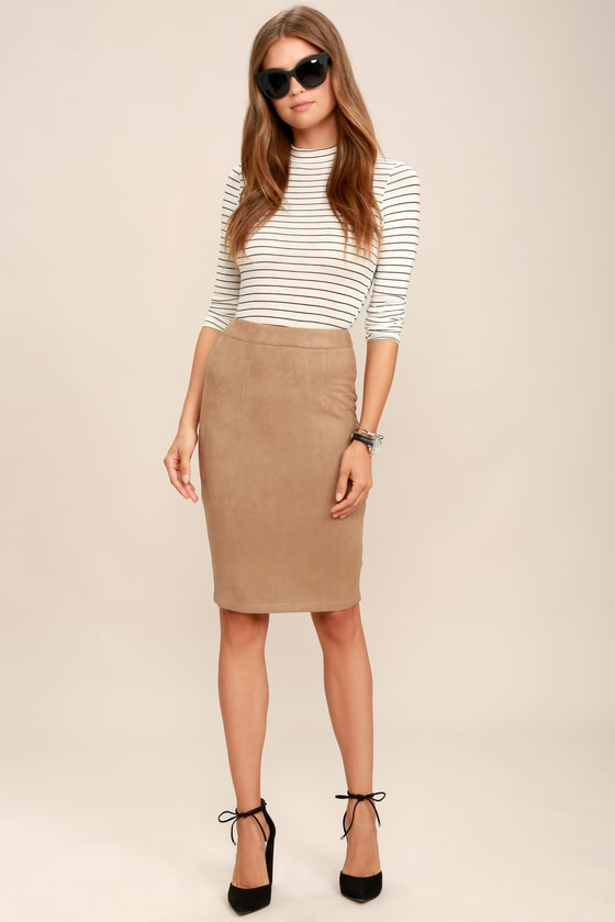 67155a34f5 Tan Skirt - Pencil Skirt - Midi Skirt - Vegan Suede Skirt