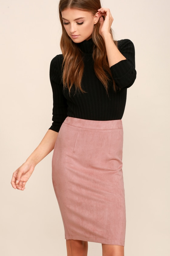 5f6db04b8 Blush Skirt - Pencil Skirt - Midi Skirt - Vegan Suede Skirt