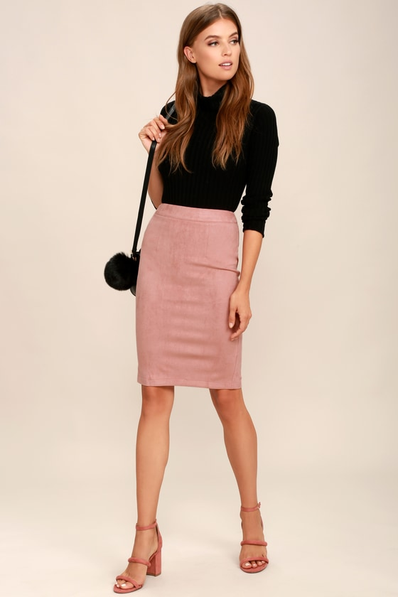 9054e07193 Blush Skirt - Pencil Skirt - Midi Skirt - Vegan Suede Skirt