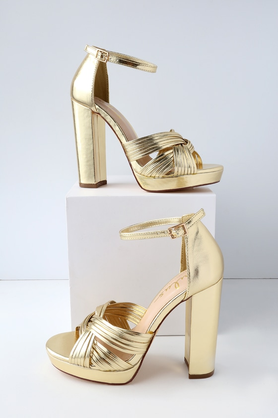 ee8e4966388 Chic Gold Heels - Vegan Leather Heels - Platform Heels