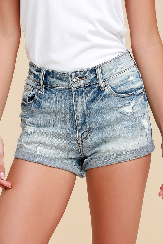 cceda897ae4 Kara Light Wash Distressed High-Waisted Denim Shorts