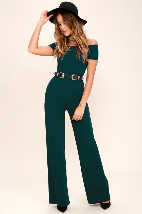 Vintage High Waisted Trousers, Sailor Pants, Jeans Alleyoop Dark Green Off-the-Shoulder Jumpsuit - Lulus $52.00 AT vintagedancer.com