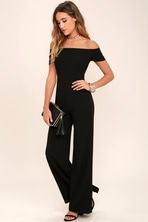 9e23d9cf5e25 Black Jumpsuit - Short Sleeve Jumpsuit - Wide-Leg Jumpsuit