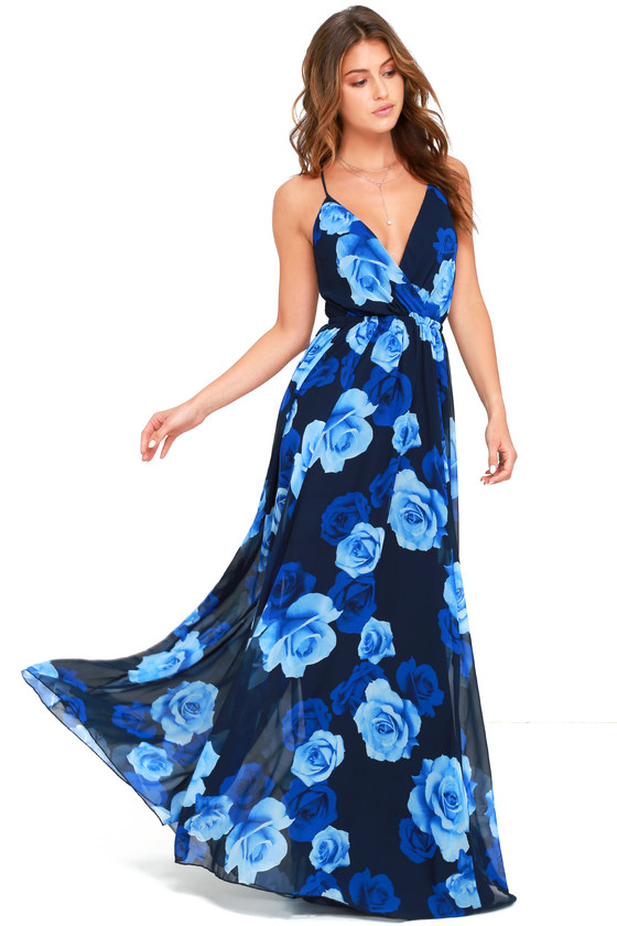 55d2ca17129 Lovely Blue Dress - Maxi Dress - Floral Print Dress -  118.00