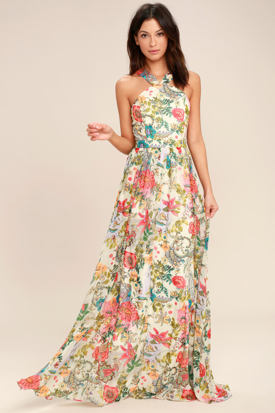 5c871fd0c32b Lovely Cream Dress - Floral Print Dress - Maxi Dress