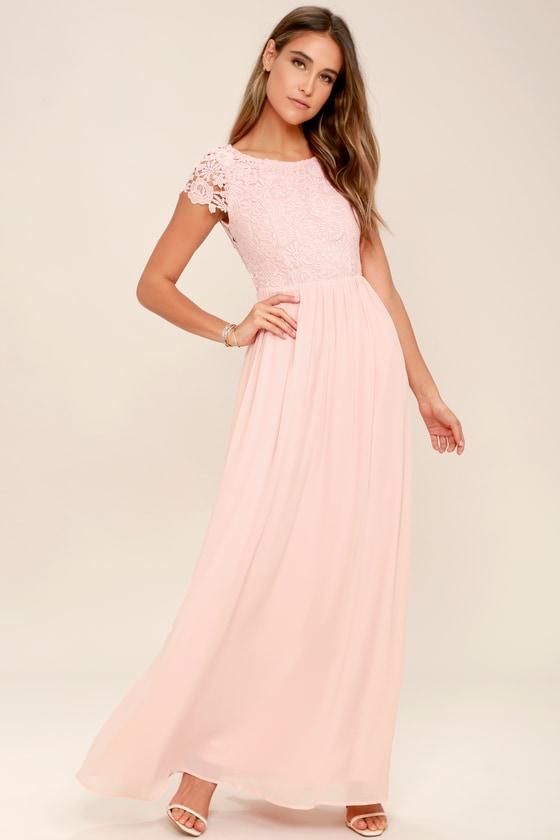 58f4e9c774460 Lovely Blush Pink Dress - Lace Dress - backless Maxi Dress