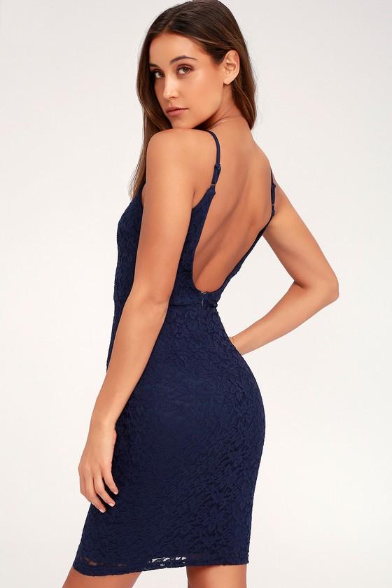 Chic Navy Blue Dress - Lace Dress - Bodycon Dress 74e8d4e5dd8d