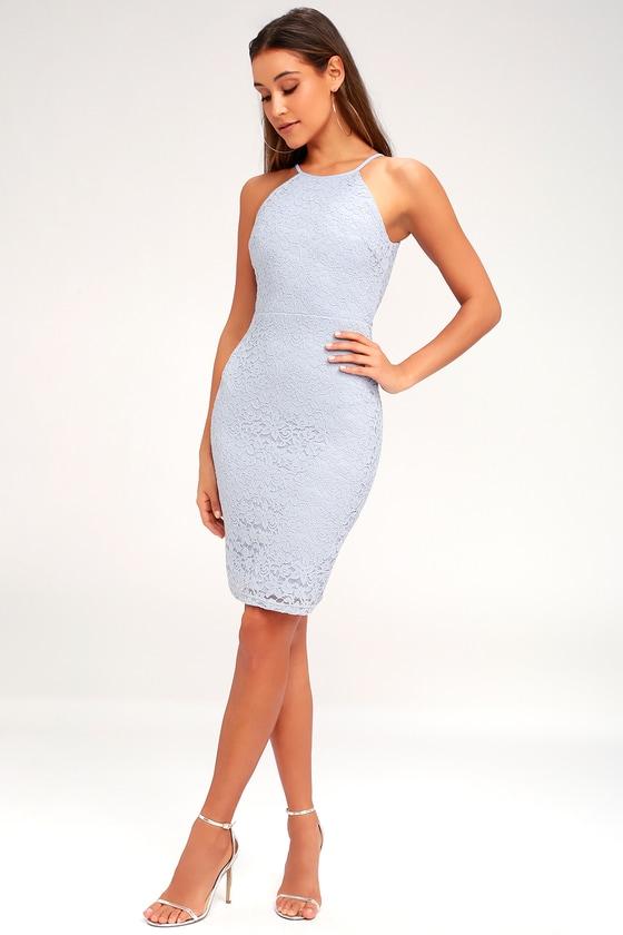 Chic Blue Grey Dress Lace Dress Bodycon Dress