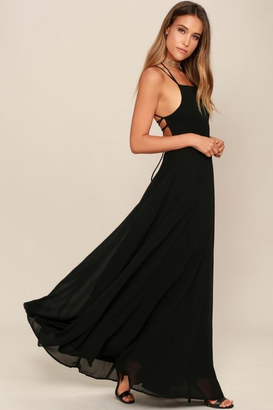 e2240420a20 Black Dress - Lace-Up Dress - Backless Dress - Maxi Dress
