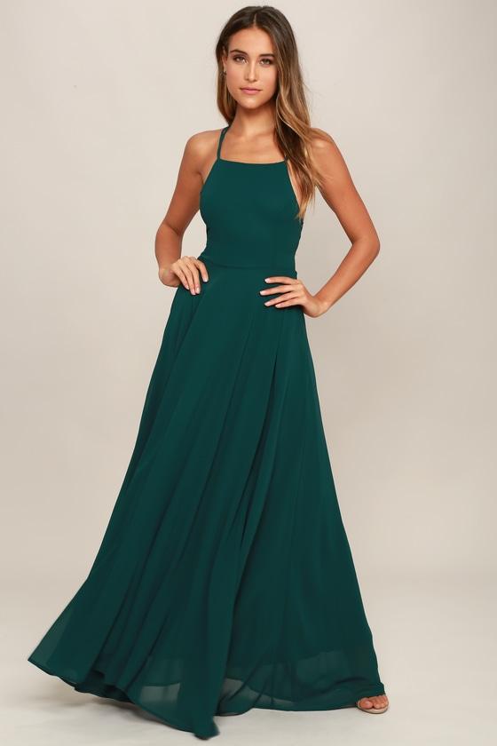 Forest Green Maxi Dress Lace Up Dress Backless Dress