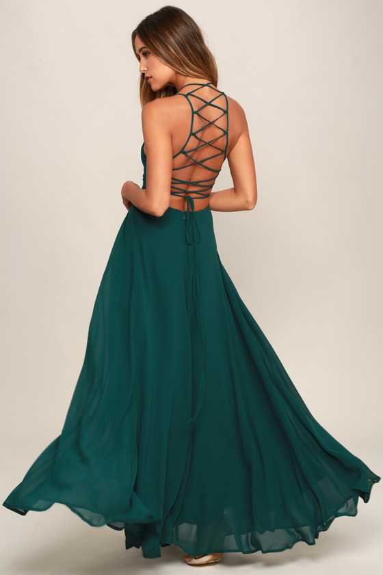 09a808bae5 Forest Green Maxi Dress - Lace-Up Dress - Backless Dress