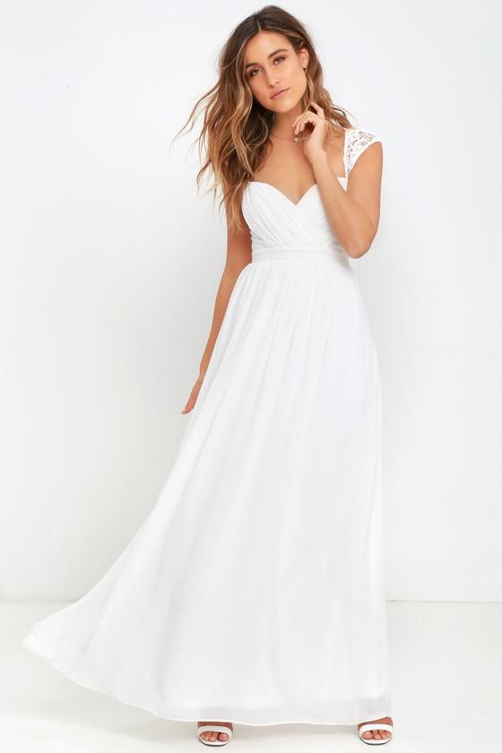 4f07d3650544 White Dress - Maxi Dress - Lace Gown -  78.00