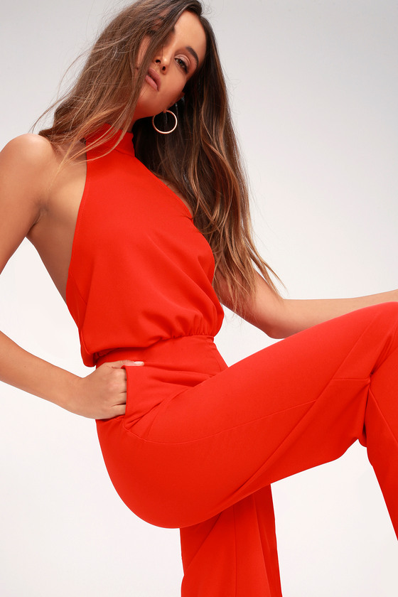 b8b01a607f Chic Red Jumpsuit - Red Halter Jumpsuit - Wide Leg Jumpsuit