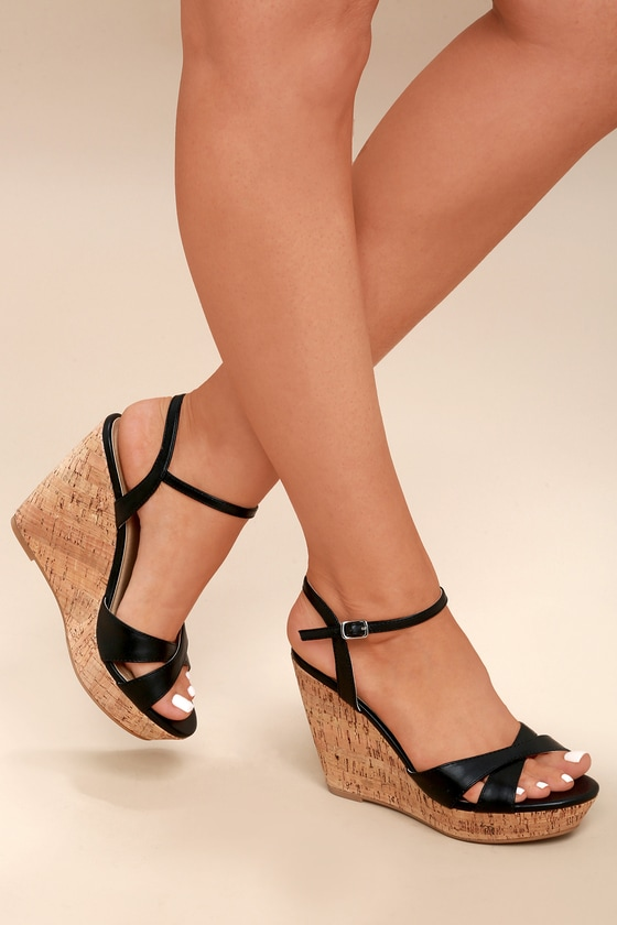 20b8d5a80ec603 Cute Black Sandals - Wedge Sandals - Cork Sandals