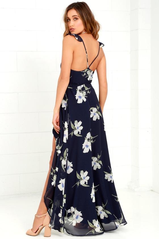 c578896e9f Navy Floral Print Dress - Wrap Dress - Side Slit Maxi Dress