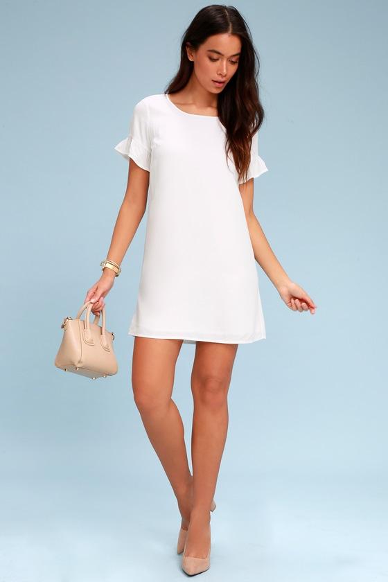 aefb0ef7076 Cute White Shift Dress - Ruffle Shift Dress - Short Dress