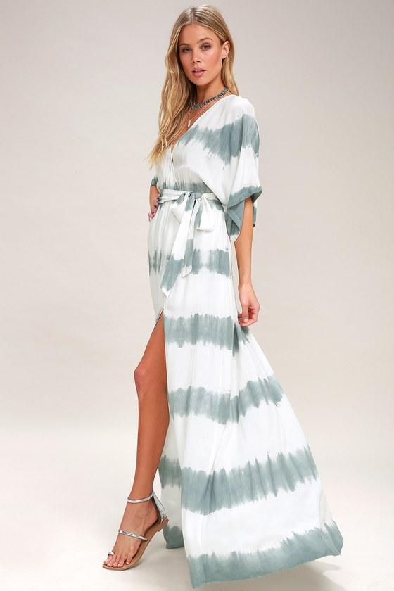 9a3fc250234 Boho Dusty Sage Dress - Tie-Dye Wrap Dress - Maxi Dress
